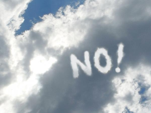 NO!と書いてある雲
