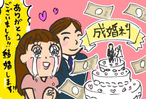 成婚料を支払う結婚成立したカップル